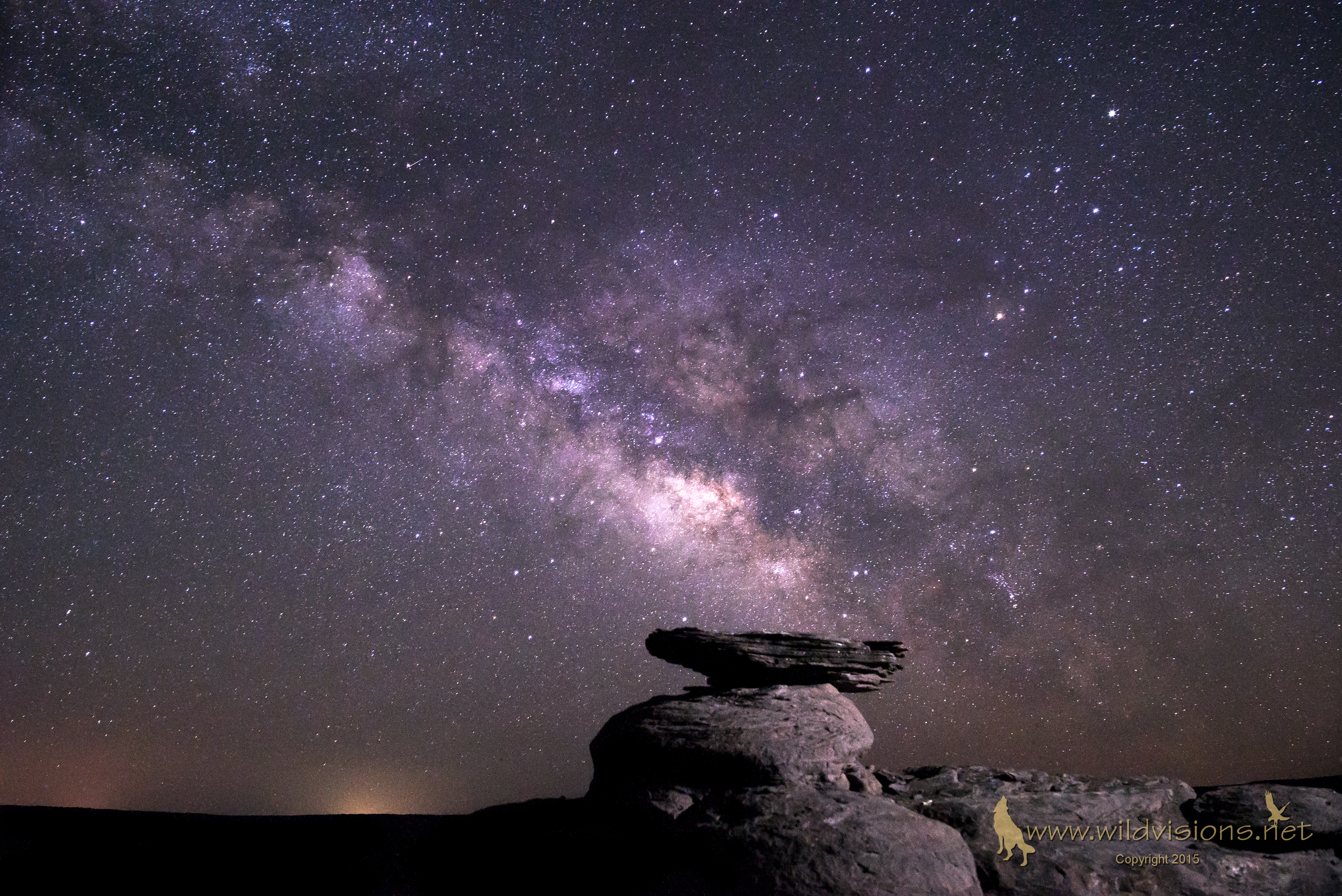 The Milky Way at night of Flying Saucer Rock in Snowflake Arizona
