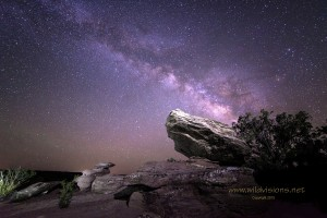 The Milky Way at night over rock in Snowflake, AZ